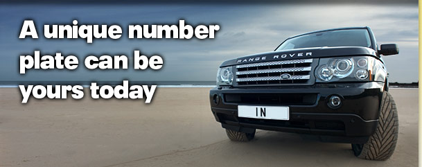 image of a Range Rover Sport on a beach with personalised number plate N1' text saying A unique number plate can be yours today